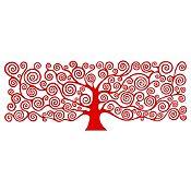 Vinilo Árbol de la Vida Klimt 1 Rojo Medida M