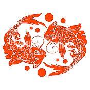 Vinilo Peces 1 Rojo Naranja Medida M