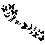 Vinilo Mariposas En Fila 1 Negro Medida M