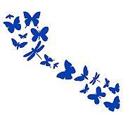 Vinilo Mariposas En Fila 1 Azul Medio Medida P