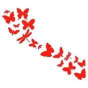 Vinilo Mariposas En Fila 1 Rojo Medida G