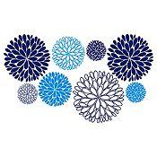 Vinilo Explosión de Hojas Azul Oscuro, Azul Claro Medida M