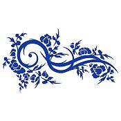 Vinilo Hojas Y Curvas Azul Medio Medida M
