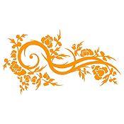 Vinilo Hojas Y Curvas Naranja Medida M