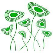 Vinilo Flores Circulares Verde Medida G