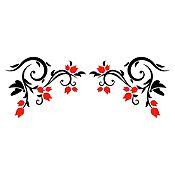Vinilo Esquinero Botones de Rosas Negro, Rojo Medida P