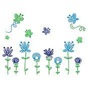 Vinilo Jardín Infantil Verde Claro, Azul Claro, Azul Oscuro Medida G
