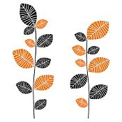 Vinilo Hojas En Color Negro, Naranja Medida P