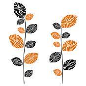 Vinilo Hojas En Color Negro, Naranja Medida M