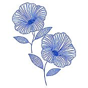 Vinilo Flor de Jamaica Azul Medio Medida P