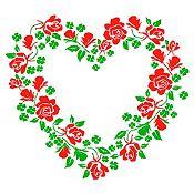Vinilo Corazón de Flores Verde Claro, Rojo Medida M