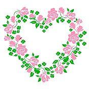 Vinilo Corazón de Flores Verde Claro, Rosado Medida G
