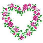 Vinilo Corazón de Flores Verde Claro, Fucsia Medida P