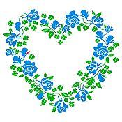 Vinilo Corazón de Flores Verde Claro, Azul Claro Medida M