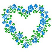 Vinilo Corazón de Flores Verde Claro, Azul Claro Medida G