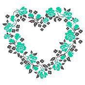 Vinilo Corazón de Flores Gris Oscuro, Menta Medida M