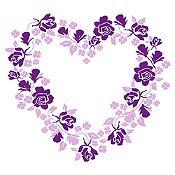 Vinilo Corazón de Flores Morado, Lila Medida M