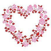 Vinilo Corazón de Flores Vinotinto, Rosado Medida G