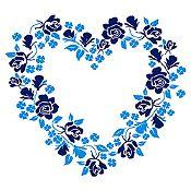 Vinilo Corazón de Flores Azul Oscuro, Azul Claro Medida M