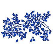Vinilo Hojas Y Rama Azul Medio Medida M