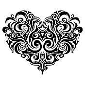 Vinilo Corazón Tatuaje Negro Medida P