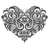 Vinilo Corazón Tatuaje Plata Medida M