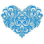Vinilo Corazón Tatuaje Azul Claro Medida G