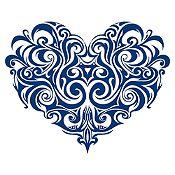 Vinilo Corazón Tatuaje Azul Medio Medida M