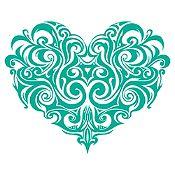 Vinilo Corazón Tatuaje Turquesa Medida G