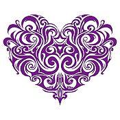 Vinilo Corazón Tatuaje Morado Medida M