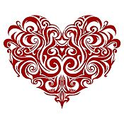 Vinilo Corazón Tatuaje Vinotinto Medida P