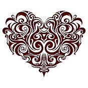Vinilo Corazón Tatuaje Marrón Medida M