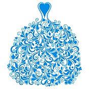 Vinilo Vestido de Ramas Azul Claro Medida G