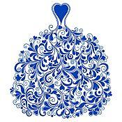 Vinilo Vestido de Ramas Azul Medio Medida G