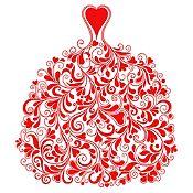 Vinilo Vestido de Ramas Rojo Medida M