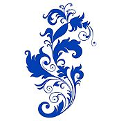 Vinilo Pluma Y Hojas Azul Medio Medida G