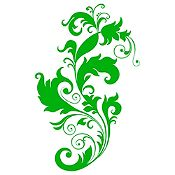 Vinilo Pluma Y Hojas Verde Claro Medida M