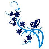 Vinilo Mariposa Y Flores Azul Oscuro, Azul Claro Medida P