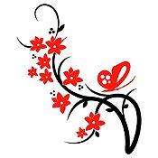 Vinilo Mariposa Y Flores Negro, Rojo Medida P
