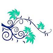 Vinilo Rama Ensueño Azul Oscuro, Menta Medida M