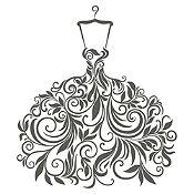 Vinilo Vestido de Hojas Plata Medida M