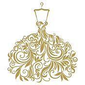Vinilo Vestido de Hojas Dorado Medida G