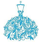 Vinilo Vestido de Hojas Azul Claro Medida G
