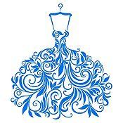 Vinilo Vestido de Hojas Azul Medio Medida P