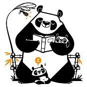 Vinilo Pandas Leyendo Un Cuento Negro, Naranja Medida G