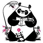 Vinilo Pandas Leyendo Un Cuento Negro, Fucsia Medida M