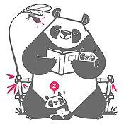 Vinilo Pandas Leyendo Un Cuento Gris Oscuro, Fucsia Medida M