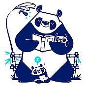 Vinilo Pandas Leyendo Un Cuento Azul Oscuro, Menta Medida G
