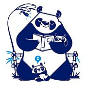 Vinilo Pandas Leyendo Un Cuento Azul Oscuro, Azul Claro Medida P