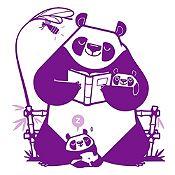 Vinilo Pandas Leyendo Un Cuento Morado, Lila Medida P